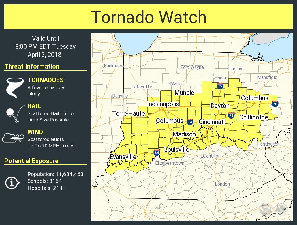Tornado Watch in Effect until 8:00 PM
